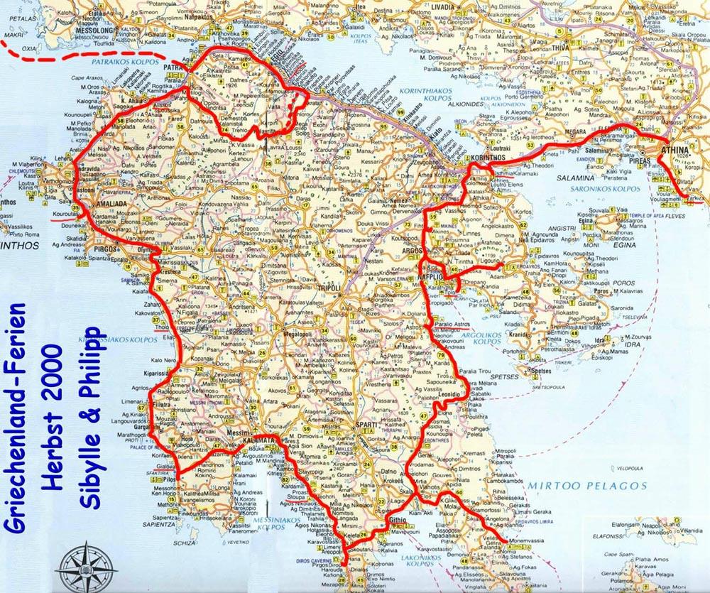 Schönste Strände Peloponnes Karte.Www Burgi Online Ch Website Philipp Burger Peloponnes 2000